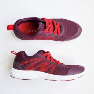 Vionic Mesh Gored-Lace Sneakers Shay Merlot Red 8